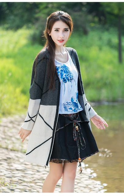 2015 Nuevas Mujeres de la Rebeca de Manga Larga Prendas de punto Otoño Primavera Estilo Casual Señoras Delgadas de La Moda Femenina Suéter Capas de Polvo al por mayor
