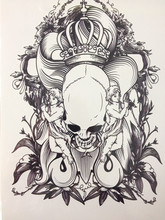 Simple Design Black Skull King 21 X 15 CM Sized Sexy Cool Beauty Tattoo Waterproof #155