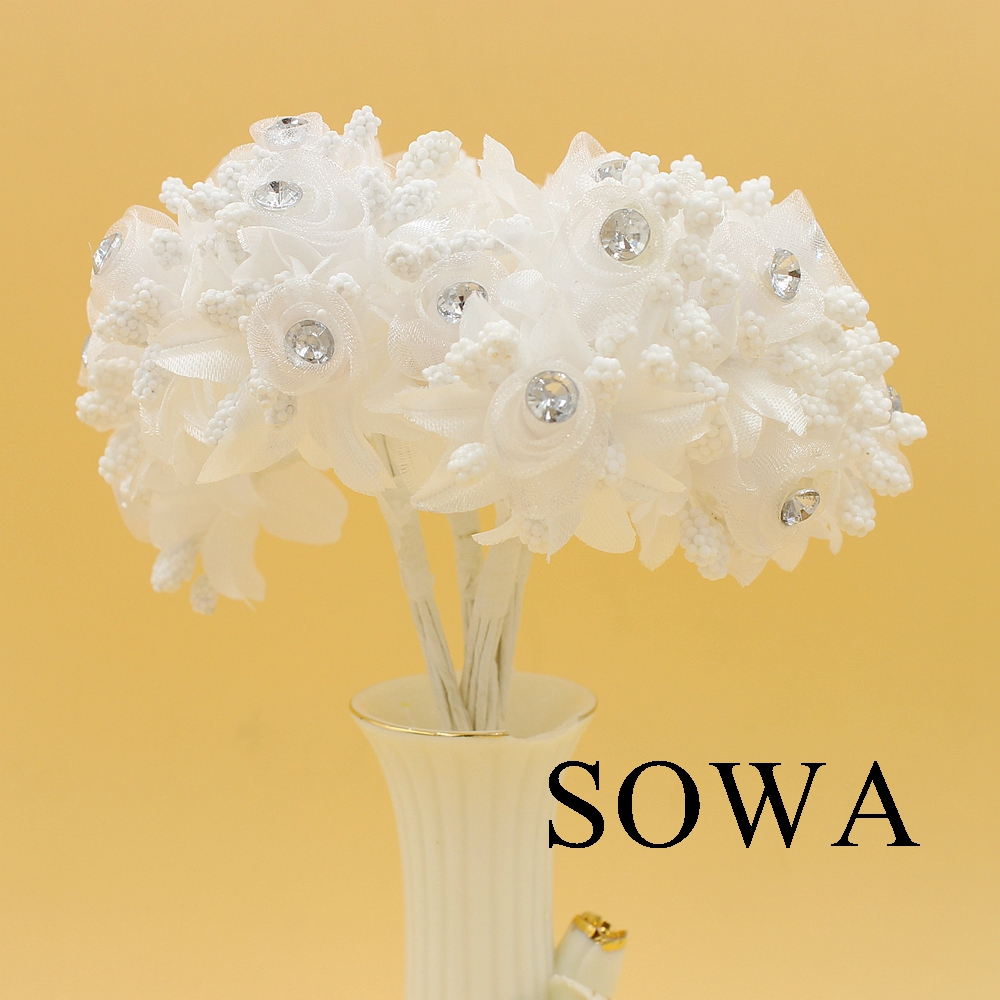 12pcslot Length 110mm White Mulberry Fabric Flower Bouquetwire