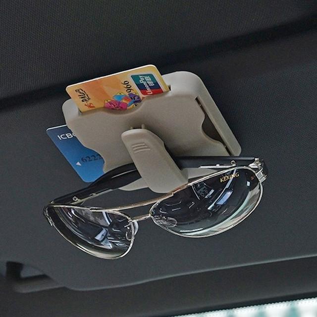 Carcasa para gafas de coche con estilo, parasol, soporte para gafas de sol, Clip de tarjeta de alta velocidad, organizador de coche, Interior Universal accesorios