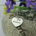 Personalizado Nome Colar de Coração Gravado Birthstone Coração você é Meu Coração Doce Colar de Pingente de Prata Jóias Memorial
