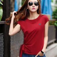 Ropa Moda Mujer 2018 verano algodón blanco camiseta arco Mujer Moda coreana Tops camiseta Mujer camiseta manga murciélago ropa