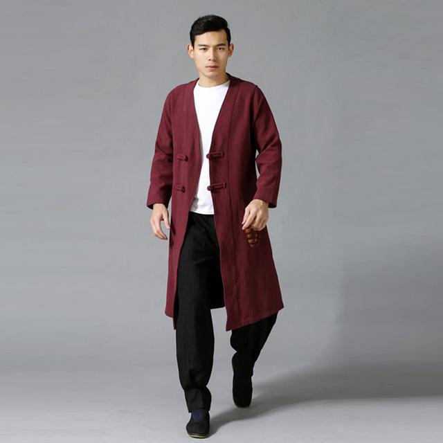 Primavera Outono Novos Homens Botão Duplo Trench Coat de Alta Qualidade do Algodão De Linho Slim Fit Longo Casaco de Lã Casaco de Trincheira Sobretudo Chinês