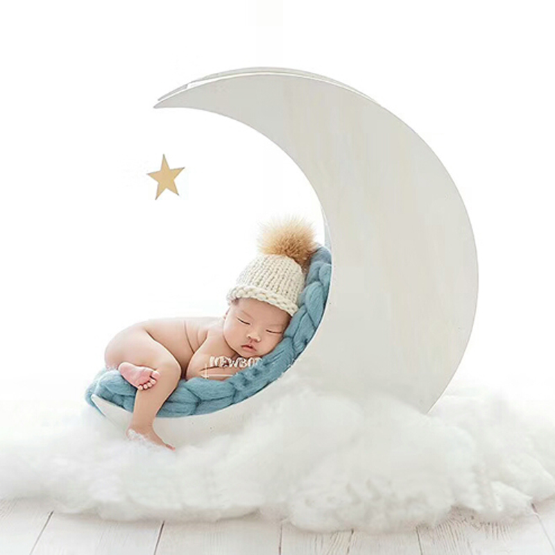 Newborn Baby Photography Wooden White Moon Bed Props Infant Baby Photo Shoot Solid Wood Handmade Basket