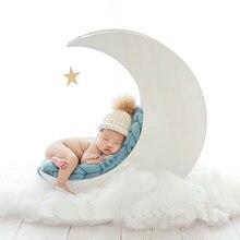 Новорожденный ребенок Фотография деревянная белая луна кровать реквизит Младенческая фотосессия цельная древесина корзина ручной работы bebe fotografia реквизит