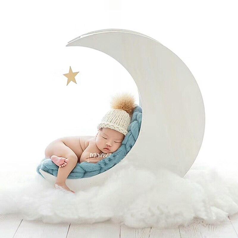 Nouveau-né bébé photographie en bois blanc lune lit accessoires infantile bébé Photo Shoot solide bois à la main panier bebe fotografia accessoires