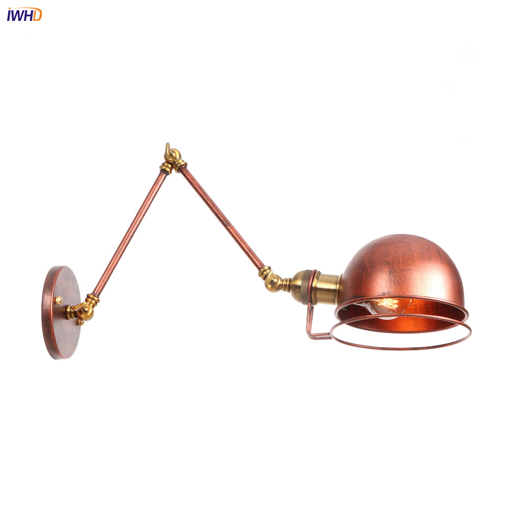 IWHD Rust Adjustable Swing Long Arm Wall Light Fixtures Home Lighting Loft Style Industrial Vintage Wall Lamp Sconce LuminaireIWHD Rust Adjustable Swing Long Arm Wall Light Fixtures Home Lighting Loft Style Industrial Vintage Wall Lamp Sconce Luminaire