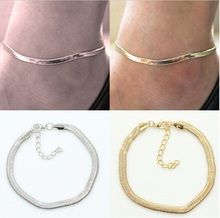 The New European And American Fashion Fine Thin  Metal Chain Anklet Ankle Bracelet Foot Jewelry Wholesale