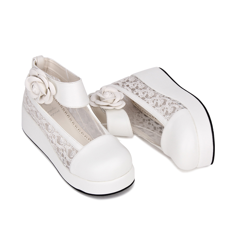 Impression angélique nouveau Designer doux Lolita style PU cuir fleur ornement plate-forme chaussures femmes pompes taille 35-46 9860