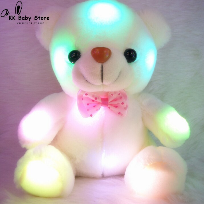 20CM Colorful Glowing Luminous Plush Baby Toys Lighting Stuffed Bear Teddy Bear Lovely Gifts for Kids
