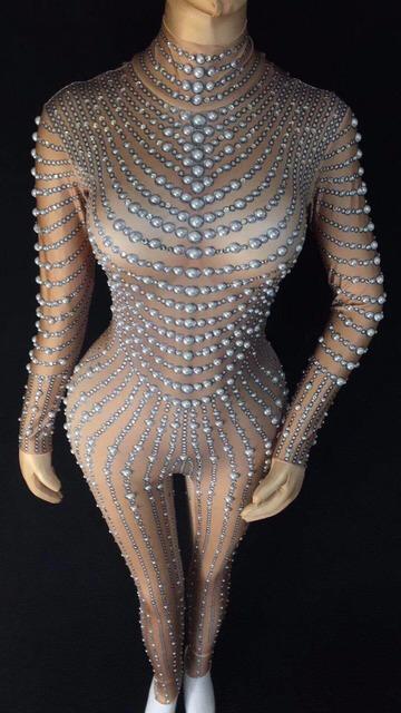 Sexy perły kamienie kombinezon czarny lub nagich Stretch body kobiety jest strój na przyjęcie urodzinowe klub nocny piosenkarka taniec pokaż Sexy legginsy