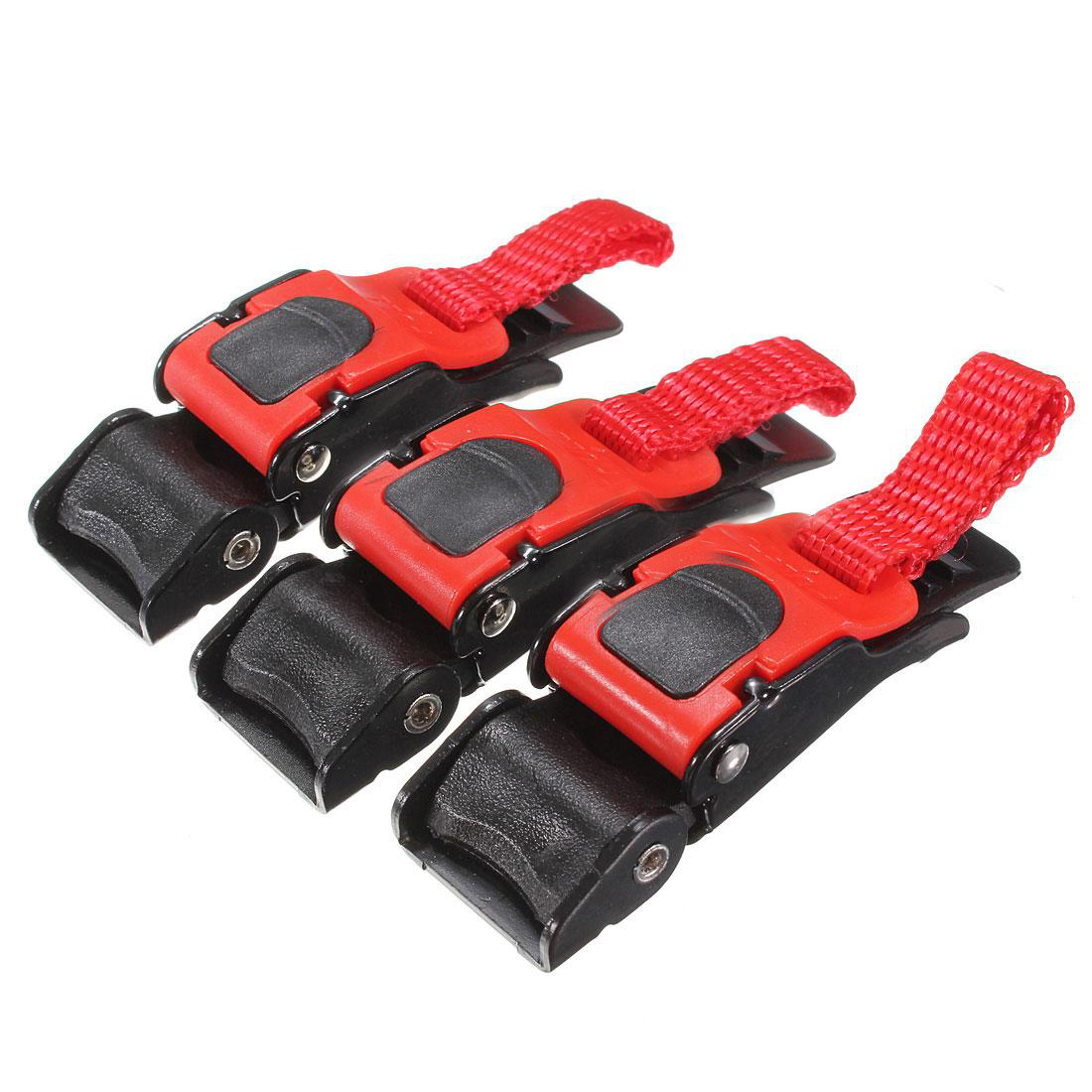 3x Plastic Motorcycle Helmet Speed Clip Chin Strap Quick Release Pull Buckle New Black+Red