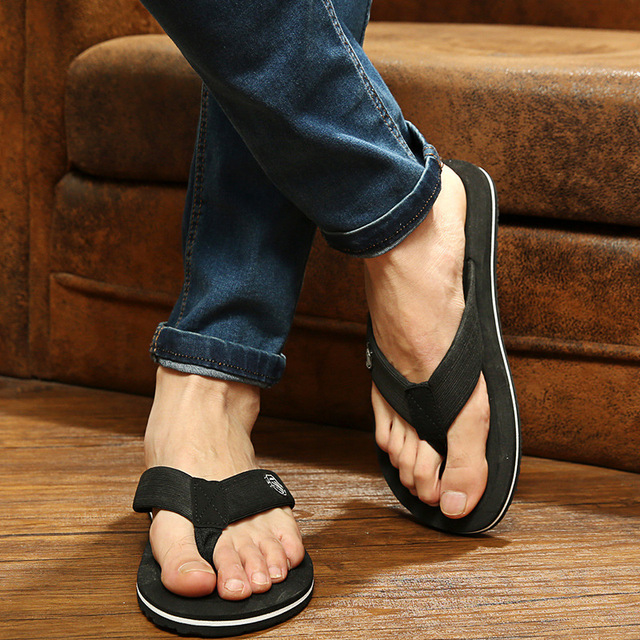 2017 New Arrival Summer Cool Men Flip Flops British Style Boardered Beach Sandals Non -3693