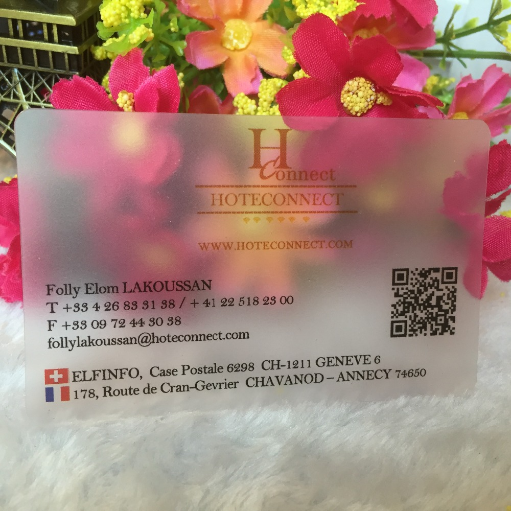 Image 3 - customized business cards custom frost transparent plastic business card printing  stronger and waterproof name/visit card-in Business Cards from Office & School Supplies