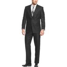 Hot Sale Two Buttons black  Groom Tuxedos Men's Suit Notch Lapel Groomsmen Mens Wedding Suits Prom Suits (Jacket+Pants )
