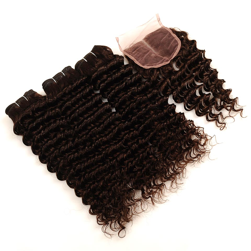 Pinshair Deep Wave Indian Hair 3 Bundles With Closure Brown Color 4 Non Remy 100 Thick Human Hair Weft Hair Bundles With Closure (46)