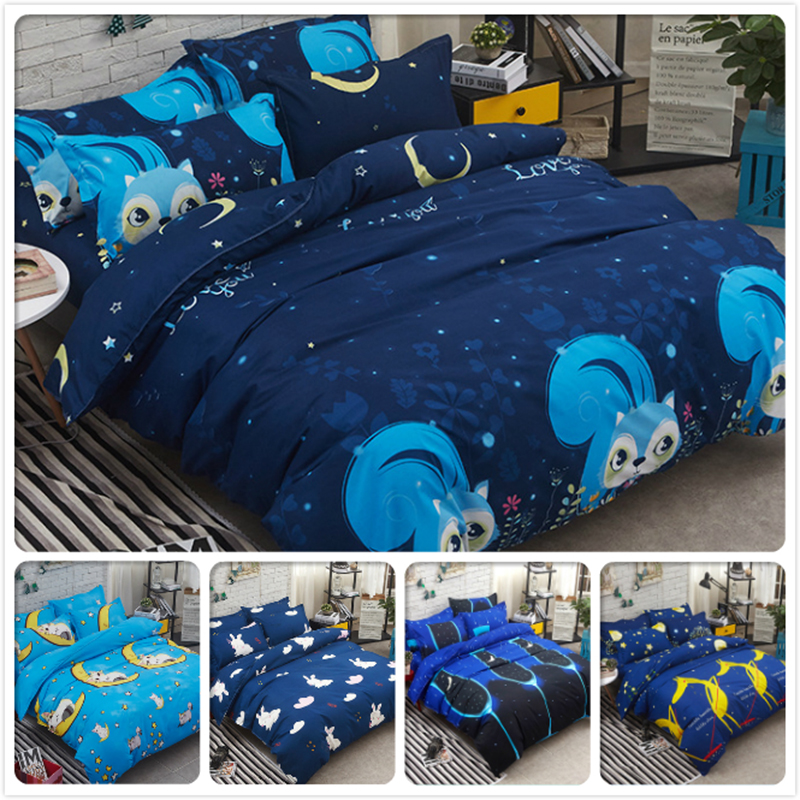 Big Size Full King Queen Twin Double Single Duvet Cover 4pcs Bedding Set Kids Bed Linens 1.2m 1.5m 1.8m 2m 2.3m Cotton Blue Star