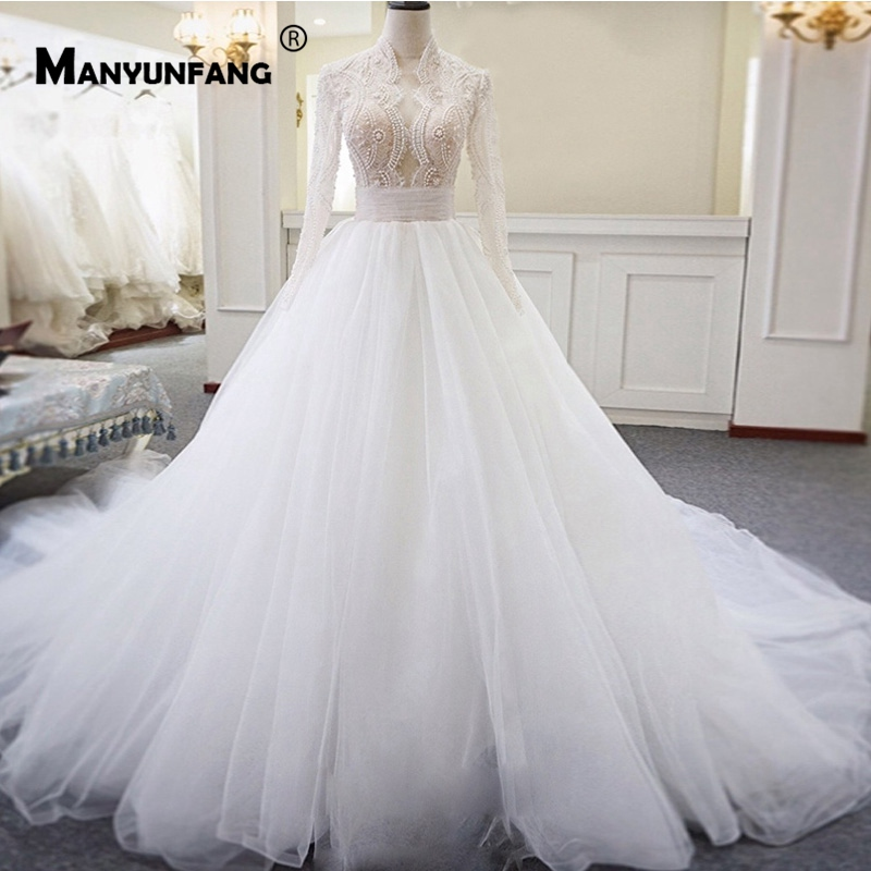 Buy Luxurious Full Long Sleeves Vestidos De Novia Pearls Cover Beads Gelinlik Wedding Dresses Pleat Sashes Lace Wedding Dress 2019 for only 237 USD