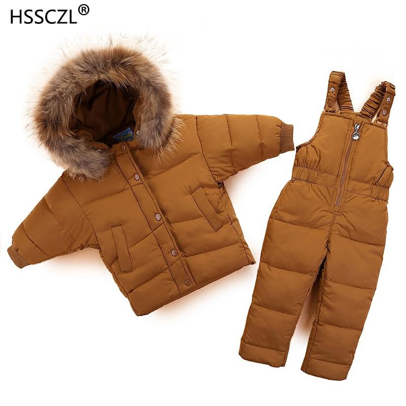 HSSCZL 2018 New Children Clothing Set Jumpsuit Snow Jacket+bib Pant 2pcs Set Baby Boy Girls Duck Down Jacket Coat Fur Hood 0-3A stylish women s snow wash slimming rolled up solid color shorts
