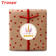Tronzo 60pcs Unicorn Candy Box Sticker Decorazione buon compleanno Kids Favors Happy Unicorn adesivi confezione regalo Unicorn Party