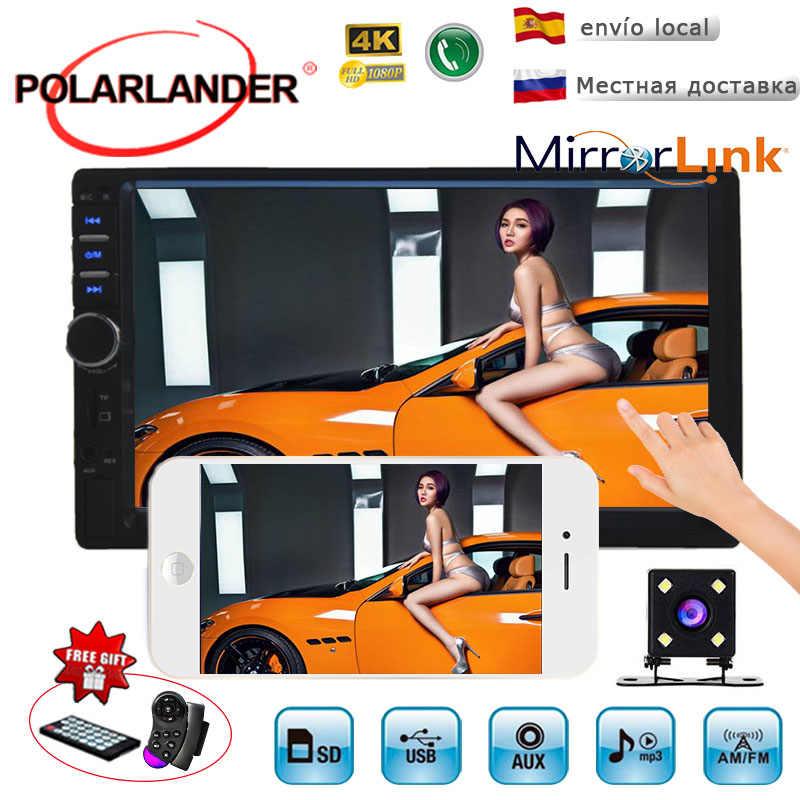 Schermo di tocco di Bluetooth Auto Radio stereo USB SD AUX IN FM video MP4 MP5 di sostegno del Giocatore di Videocamera Vista Posteriore Specchio Link Per andriod