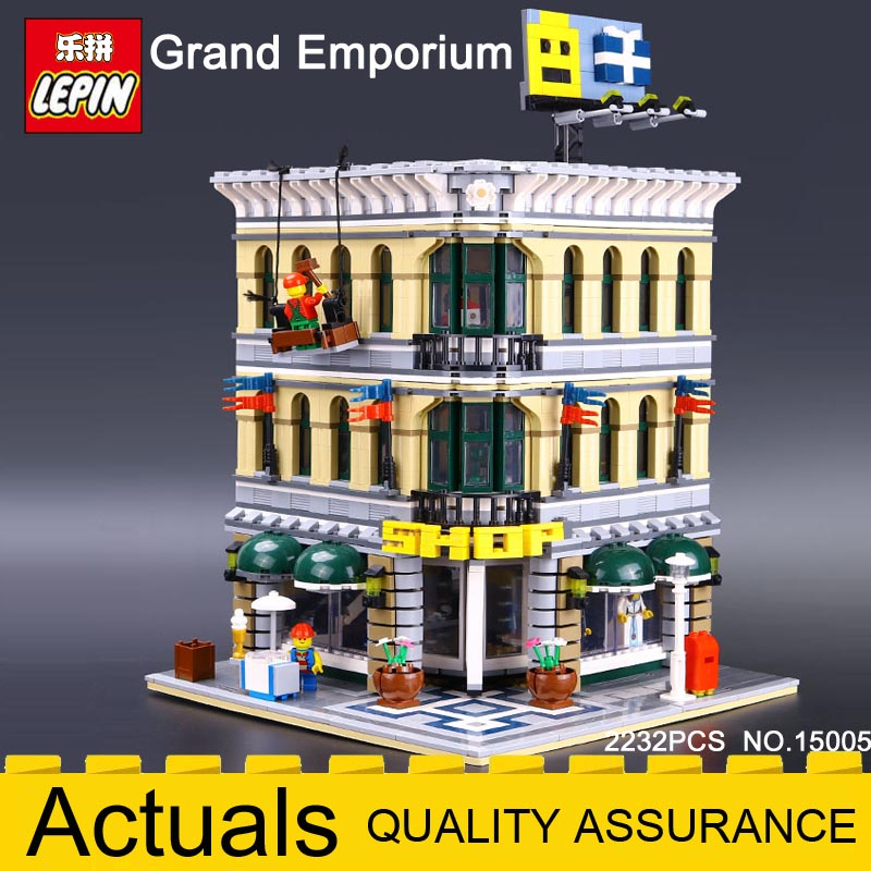 NEW 2182Pcs Lepin 15005 City Grand Emporium Model Building Blocks Kits Brick Toy Compatible Legoing 10211 Shop Children BOY Gift a toy a dream lepin 15008 2462pcs city street creator green grocer model building kits blocks bricks compatible 10185