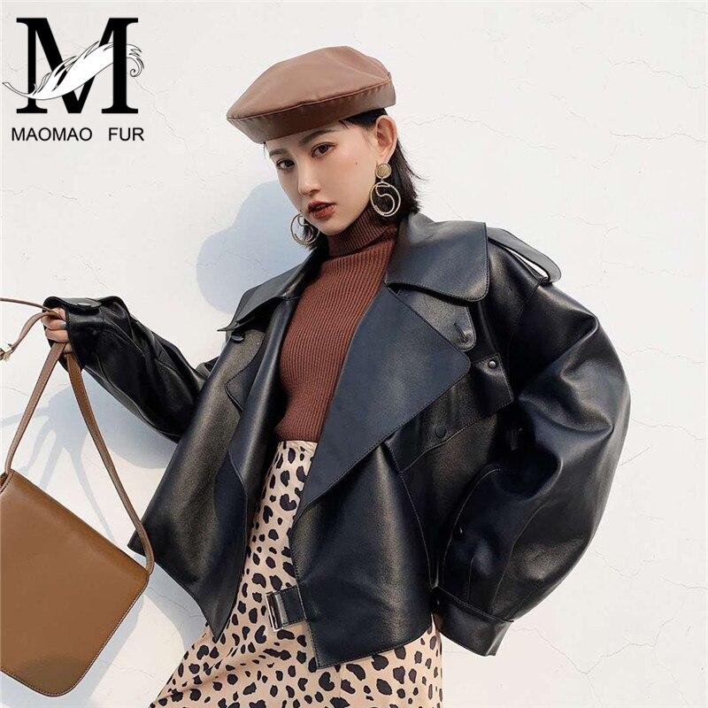2019 nueva moda chaqueta de cuero genuino de las mujeres bolsillos de chaqueta de piel de oveja de abrigo de cuero otoño Primavera de cuero Real de las señoras chaqueta