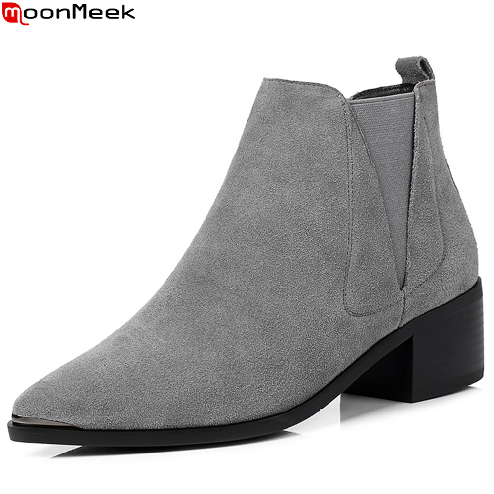 MoonMeek fashion autumn winter new arrive women boots pointed toe cow suede boots square heel black gray ankle boots