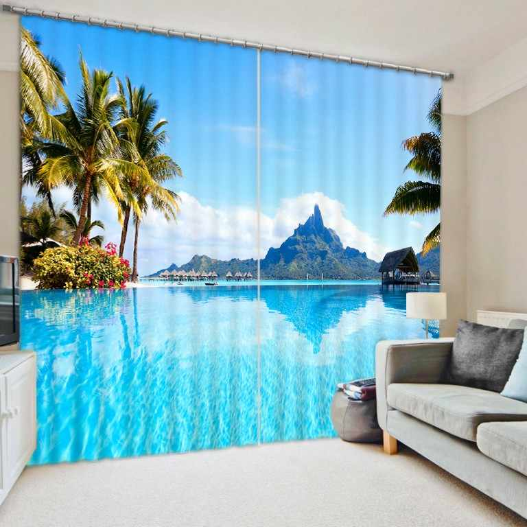 3D Curtain Luxury Blackout Window Curtain Living Room kids Bedroom Customized size Drapes Cortinas Rideaux Blue ocean pillowcase