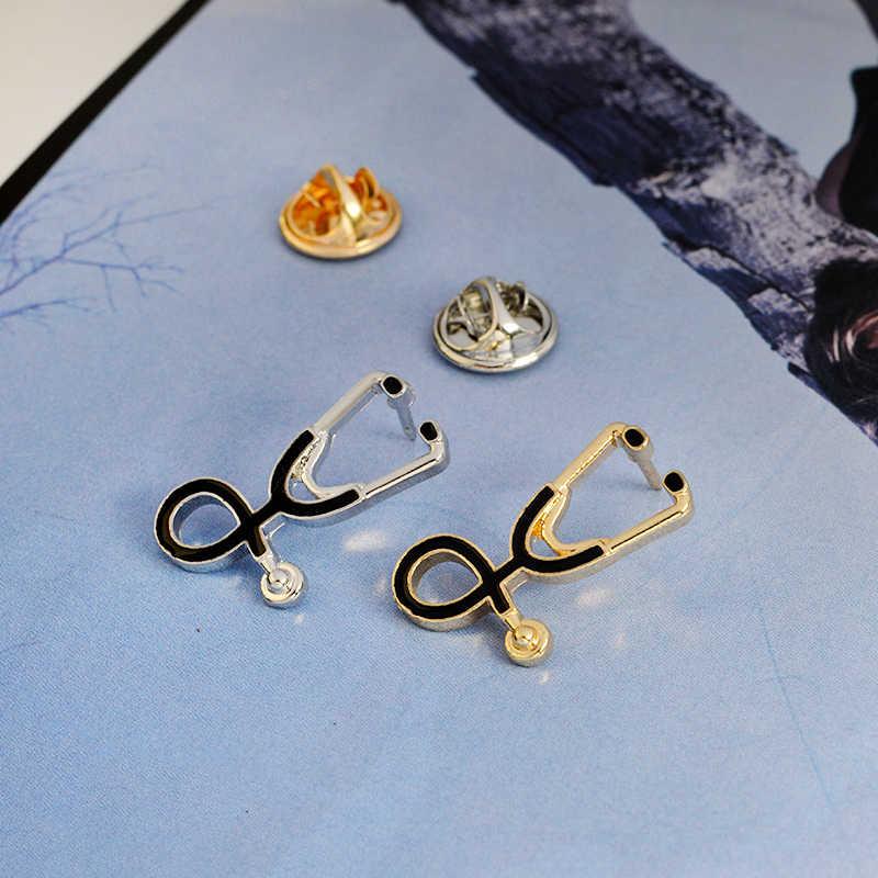 Мисс Зое брошь в виде стетоскопа шпильки золото серебристый, черный воротник корсаж подарок для врач-медсестра врачи медицинский студент Выпускной