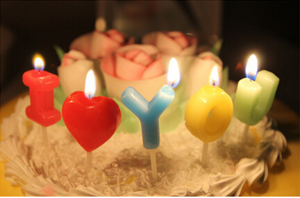 2015 free shipping 5pcs romantic i love you letters lovers birthday candle diy cake topper sweety