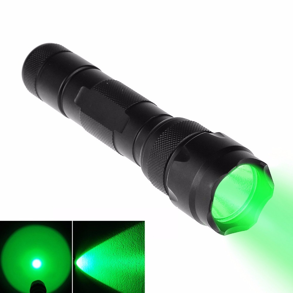 UniqueFire 300 Lumen 502B-XRE GREEN And RED LED Coyote Hog Hunting Light Tactical Flashlight 3 Modes Torch Hunting Flashlight