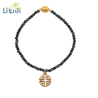 Lii Ji Natrual Black Spinel Faceted Beads 925 sterling silver Gold Plated Happiness Lucky Pendant Fashion Shining Bracelet