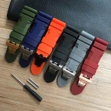 24 26mm สีดำสีส้มสีฟ้าสีแดงสีเทาสีเขียวยางซิลิโคน Whatchband สำหรับ PAM RADIOMIR นาฬิกาผีเสื้อหัวเข็มขัดแกะสลัก
