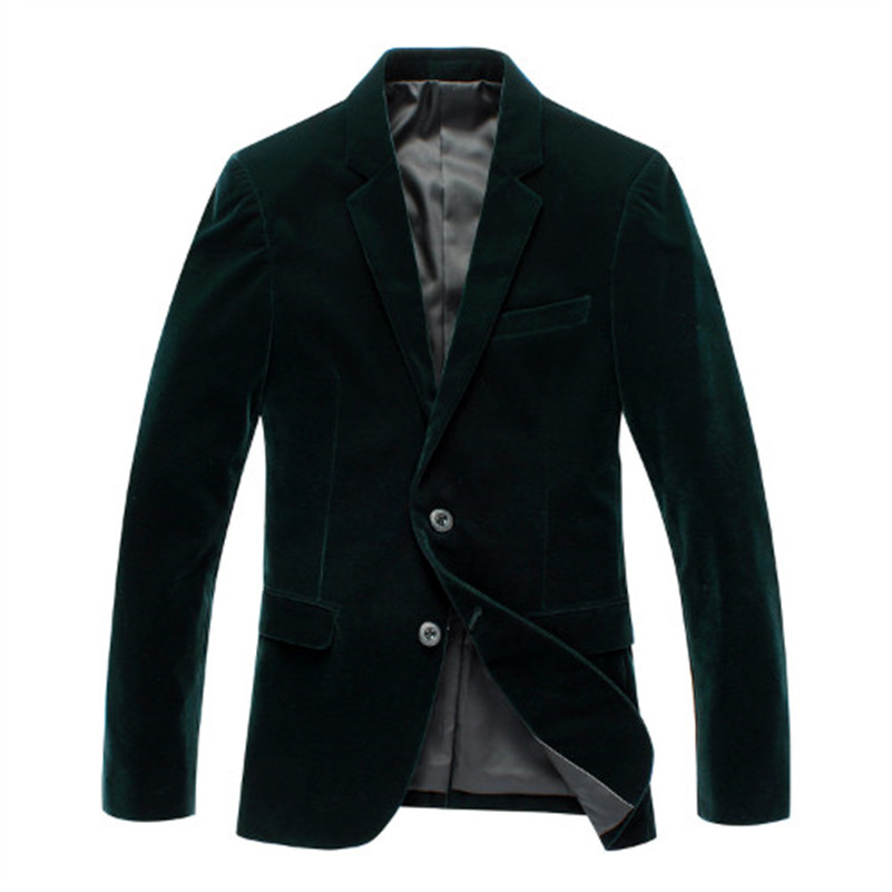Double Breasted Blazer Men Green Velvet Blazer Slim Fit Stage Costumes Men Suit Singer Suits & Blazer Mens Velvet Blazers
