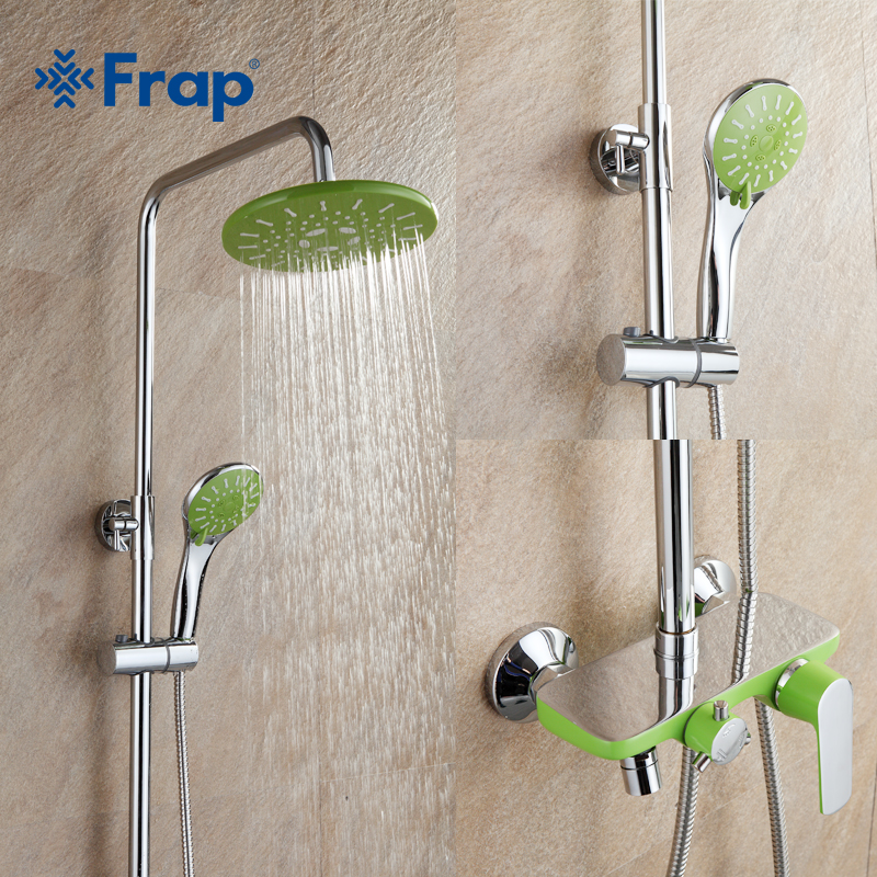 Frap 1 set of apple-green bathroom shower all copper chrome-plated wall-mounted shower sets F2433 copper bathroom shelf basket soap dish copper storage holder silver