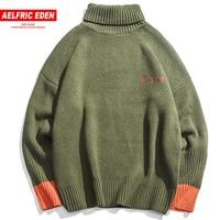 Aelfric Eden Turtleneck Color Block Long Sleeve Sweaters Men Winter Casual Streetwear Korean Style Knitwear Fashion Sweater Cv11