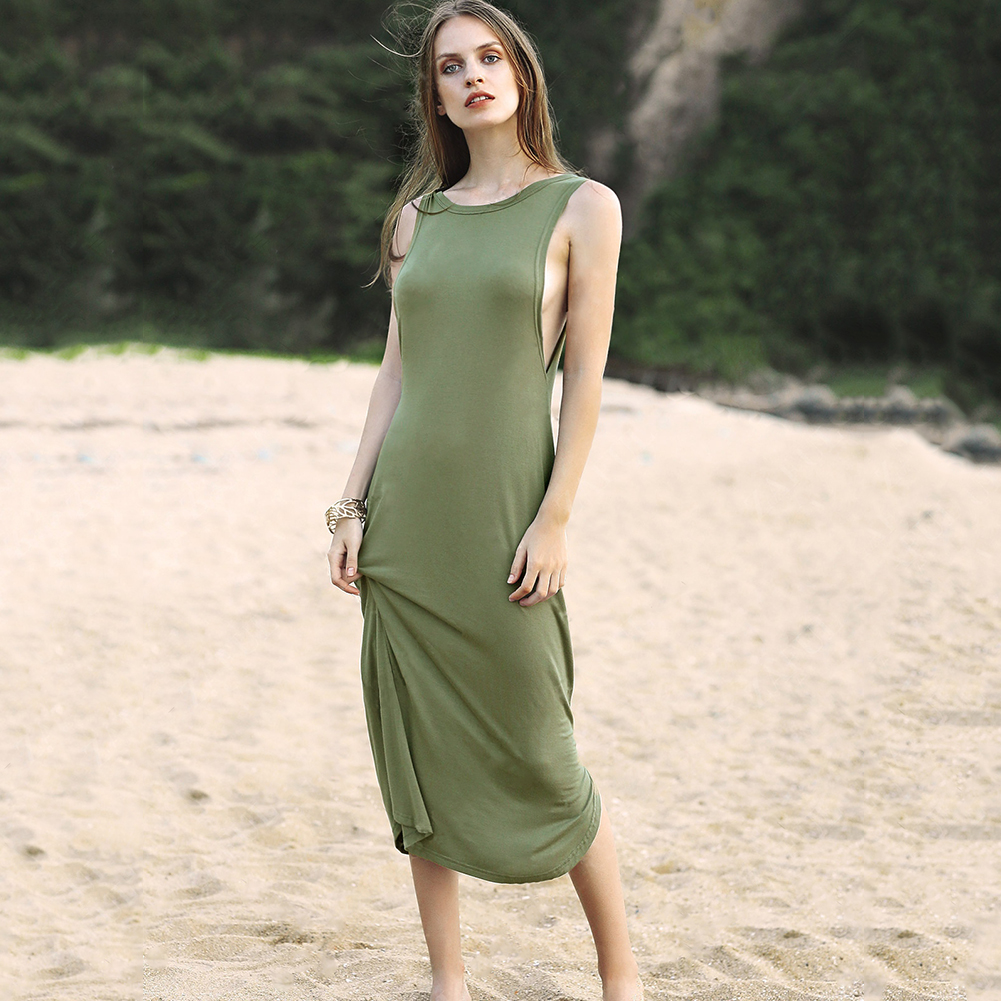 56890ef58c86 2017 Women soft Simple maxi dress Casual Plain Sleeveless Evening Gown  Loose Dress flexible long dress-in Dresses from Women s Clothing    Accessories on ...