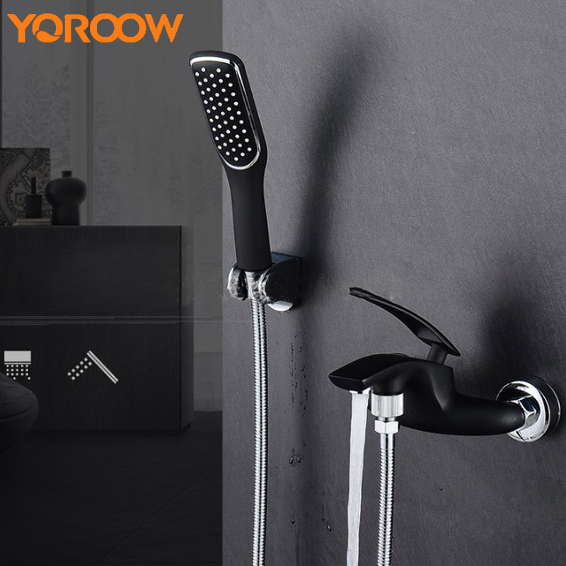 Single Handle Wall Mounted Shower Faucets Hand Shower Set Simple Shower head Black White Green Bathtub Mixer Tap Watertap MN0005