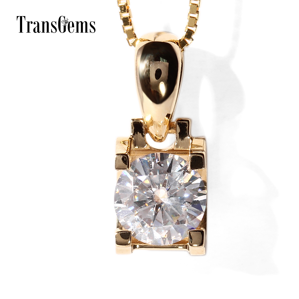 TransGems 18K Yellow Gold 1 Carat 6.5mm Lab Grown Moissanite Diamond Solitaire Pendant Chain Necklace for Women transgems 18k rose gold 1 carat lab grown moissanite diamond solitaire pendant necklace solid necklace for women