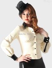 Latex Rubber School Mistress tops – White/Black