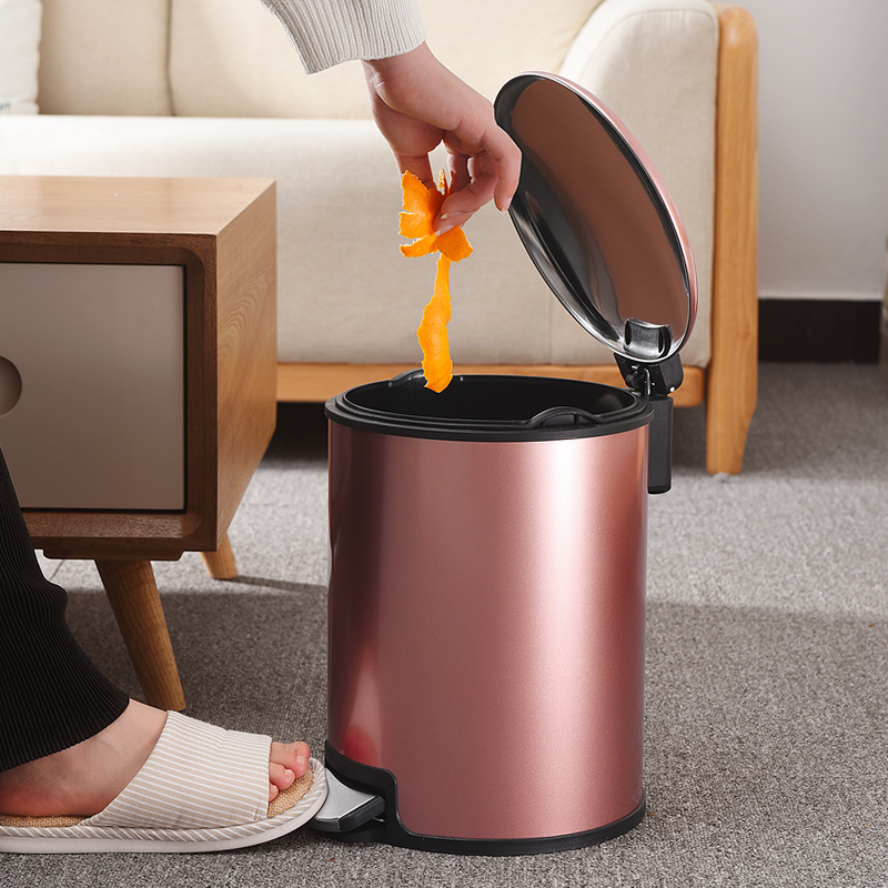 New Bedroom Trash Can with Lid Kitchen Stainless Steel Pedal Type with Lid Trash 8L Bucket Bathroom Garbage Can for Recycling