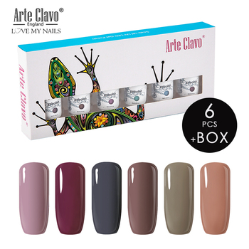Arte Clavo Gel Nail Polish 8ml Semi-Permanent LED Varnish Gel Lacquer Set 6pcs Gift Box Soak Off Ivory White Yellow UV Gel Color