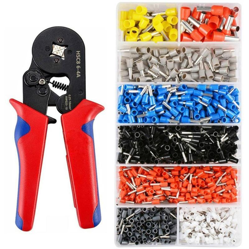 HSC8 6-4 Terminal Crimping Pliers Wire Stripper Crimper Ferrule Crimping Hand Tool Pliers+ 1200 Terminals Kit newacalox multifunction self adjustable terminal tool kit wire stripper crimping pliers wire crimp screwdriver with tool bag