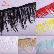 ChengBright 5-10Meters Natural White Ostrich Feather Ribbon, Feather Length 8-10cm DIY Clothing Accessories Feathers Trim Fringe цена