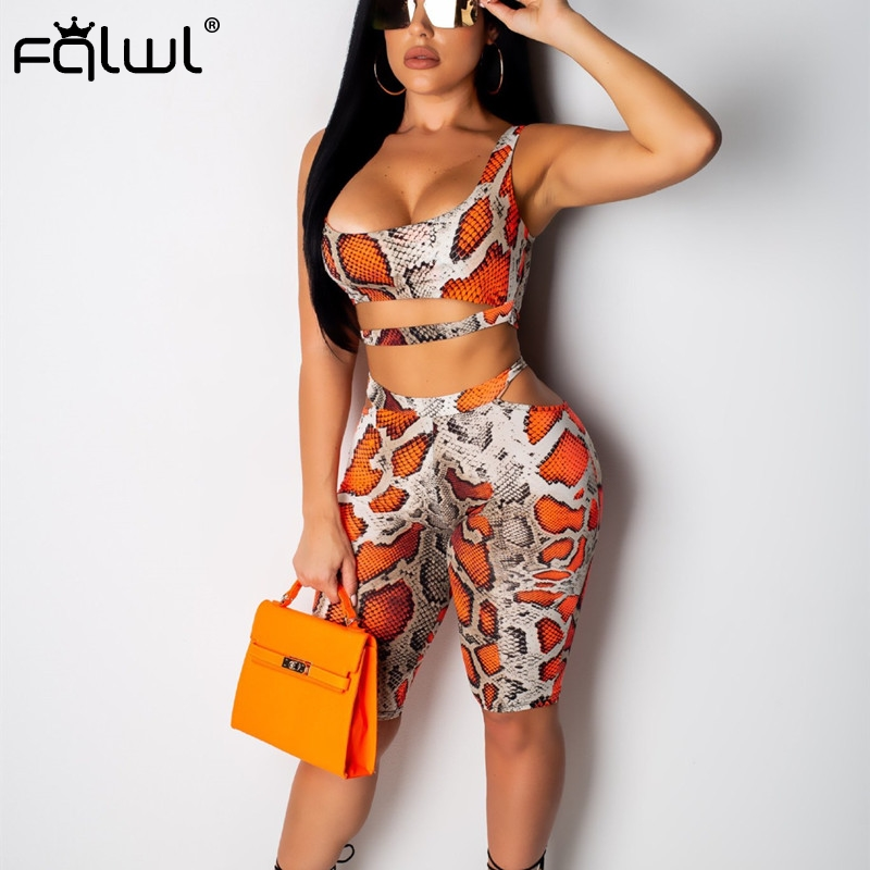 FQLWL Snake Print Bandage Summer Romopers Womens   Jumpsuit   Short Playsuit Streetwear Backless Skinny Sexy Bodycon   Jumpsuit   Female