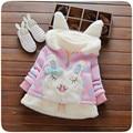 Chaqueta De Invierno Conejo de la Historieta de los niños Niñas Abrigo de Invierno Cálido Algodón Niños Parkas Ropa de Bebé Ropa Infantil