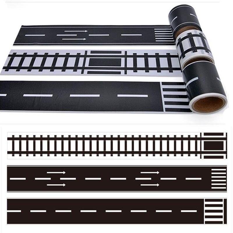 DIY Scrapbooking Railway Track Highway Traffic Creative Scene Sticker Paper Tape Stickers Adhesive Tape Decorative Craft Sticker