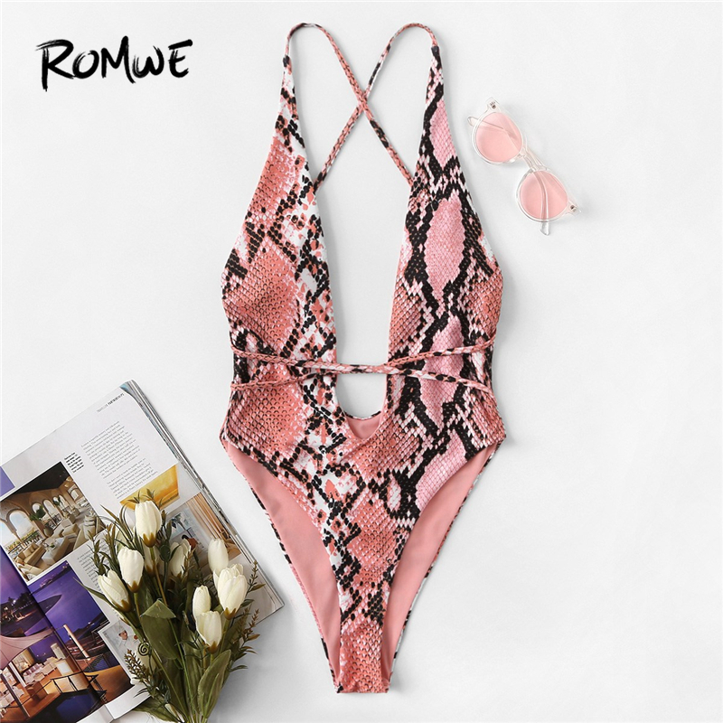 Romwe One-Piece Swimwear Swim-Suits Women Monokini Snake-Print Deep-V-Neck Sport Summer