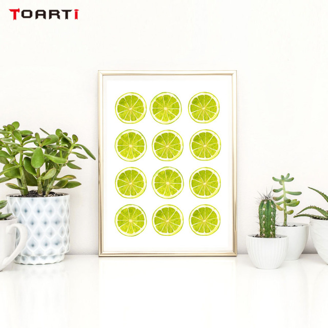 Bright Colors Yellow Green Lemon Wall Art Canvas Painting Kitchen ...